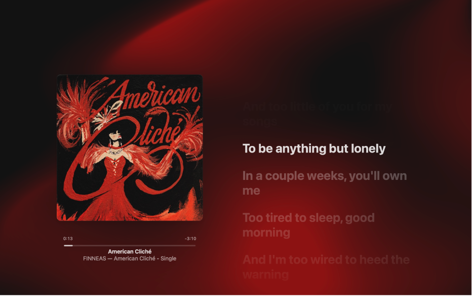 The Full Screen Player with a song playing and lyrics on the right, which appear onscreen in time with the music.