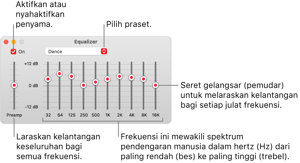 Tetingkap Penyama: Kotak semak untuk mengaktifkan penyama Muzik berada di bahagian penjuru kiri atas. Bersebelahannya ialah menu timbul dengan praset penyama. Di sebelah hujung kiri, laraskan kelantangan keseluruhan untuk frekuensi dengan praamp. Di bawah praset penyama, laraskan aras bunyi julat frekuensi berlainan, yang mewakili spektrum pendengaran manusia daripada paling bawah kepada paling atas.