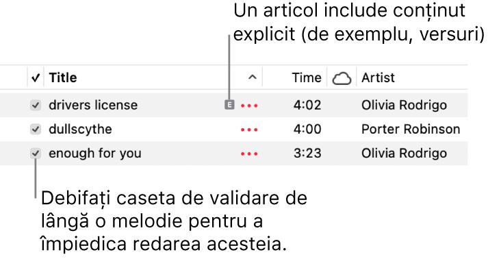 Detaliu al vizualizării Melodii din muzică, prezentând casetele de validare în stânga și un simbol explicit pentru prima melodie (indicând că are conținut explicit, cum ar fi versurile). Deselectați caseta de validare de lângă o melodie pentru a împiedica redarea acesteia.