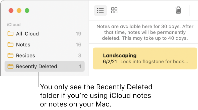 The Notes window with the Recently Deleted folder in the sidebar and a recently deleted note. You only see the Recently Deleted folder if you're using iCloud notes or notes on your Mac.