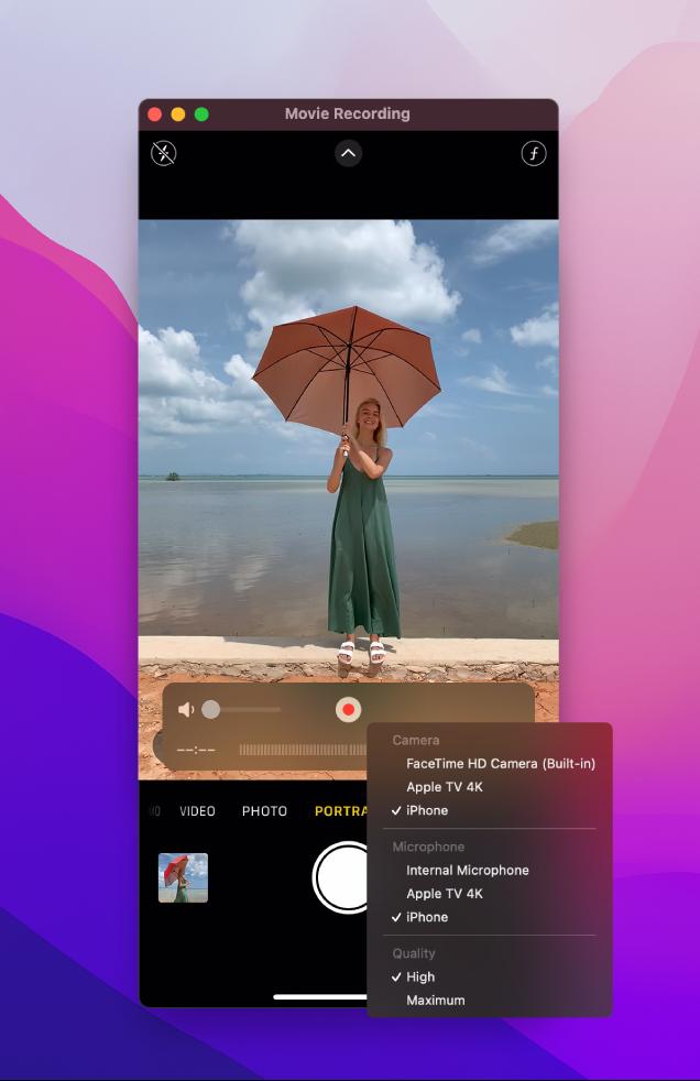 使用 iPhone 录制时 Mac 上显示的 QuickTime Player 窗口。