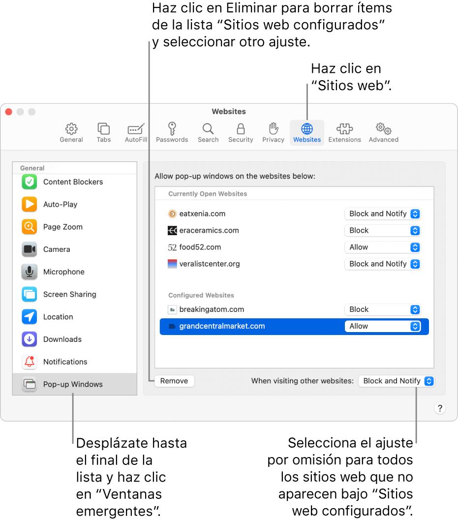 """Una ventana que muestra las preferencias de Safari para los sitios web, con la opción """"Ventanas emergentes"""" seleccionada en la parte inferior de la barra lateral y todos los sitios web configurados, también seleccionados."""