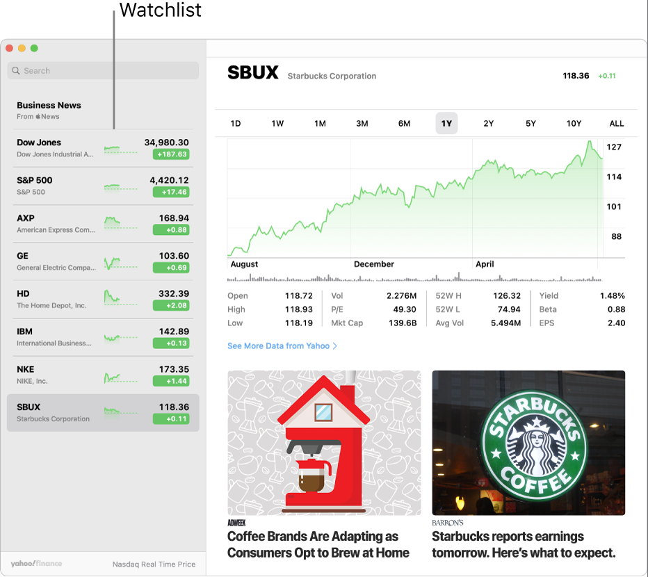 A Stocks window showing the watchlist on the left with one ticker symbol selected, and the corresponding chart and news feed in the right pane.