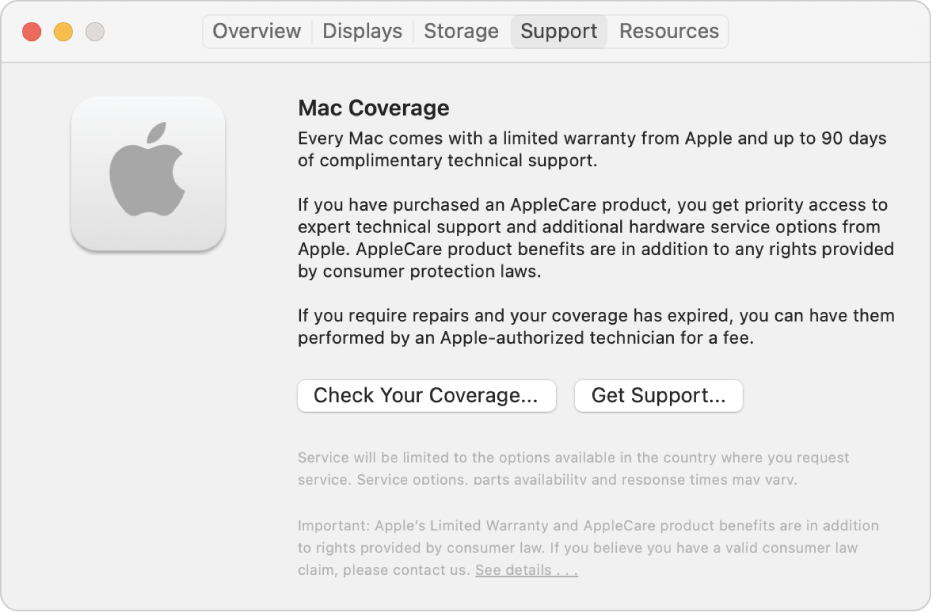 The Support pane in System Information. The pane shows information about Mac technical support coverage. The Check Your Coverage and Get Support buttons are near the bottom.