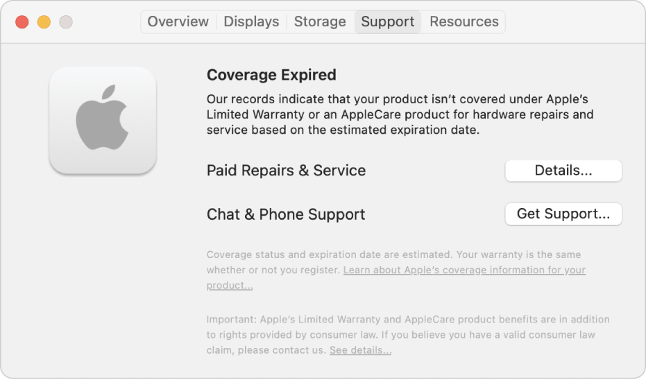 The Support pane in System Information. The pane shows the Mac is no longer covered under Limited Warranty. The Details and Get Support buttons are on the right.