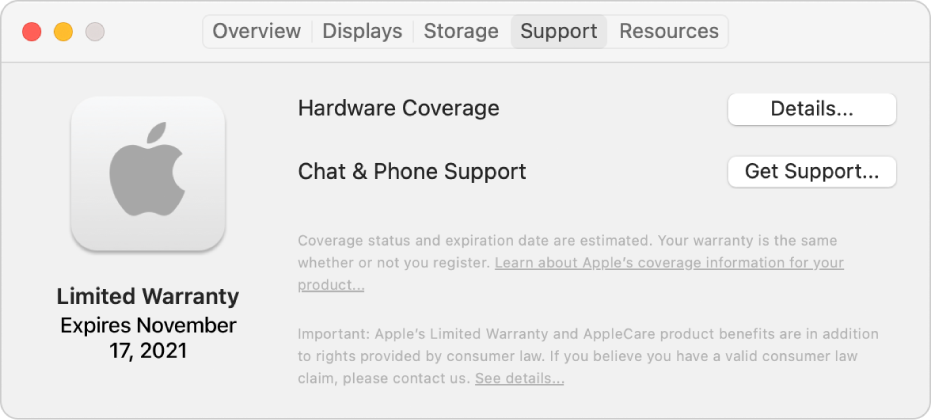 The Support pane in System Information. The pane shows the Mac is covered under a limited warranty and the expiration date. The Details and Get Support buttons are on the right.