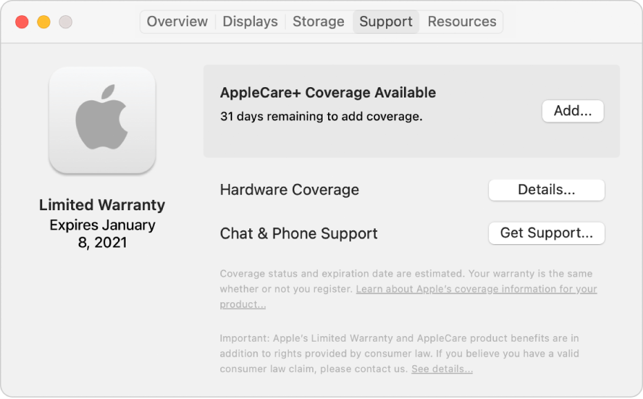 The Support pane in System Information. The pane shows the Mac is covered under Limited Warranty and is eligible for AppleCare+. The Add, Details, and Get Support buttons are on the right.