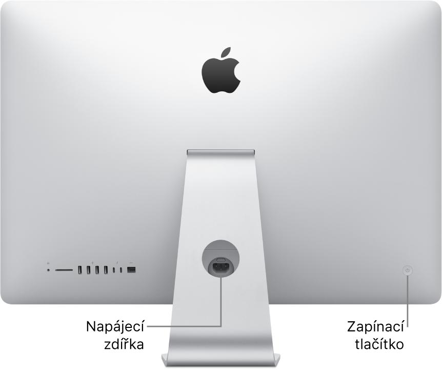 Pohled na zadní stranu iMacu snapájecím kabelem azapínacím tlačítkem.
