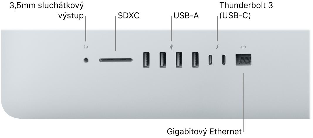 iMac s3,5mm sluchátkovou zdířkou, slotem pro SDXC karty, porty USB‑A, porty Thunderbolt3 (USB‑C) agigabitovým ethernetovým portem