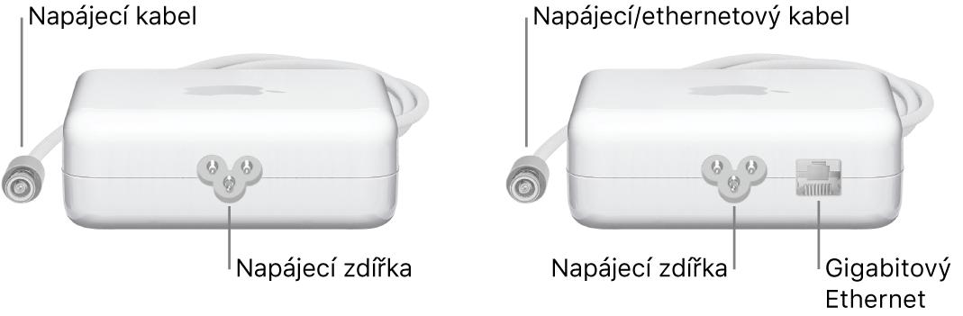 Dva napájecí adaptéry, jeden bez ethernetového portu adruhý sethernetovým portem
