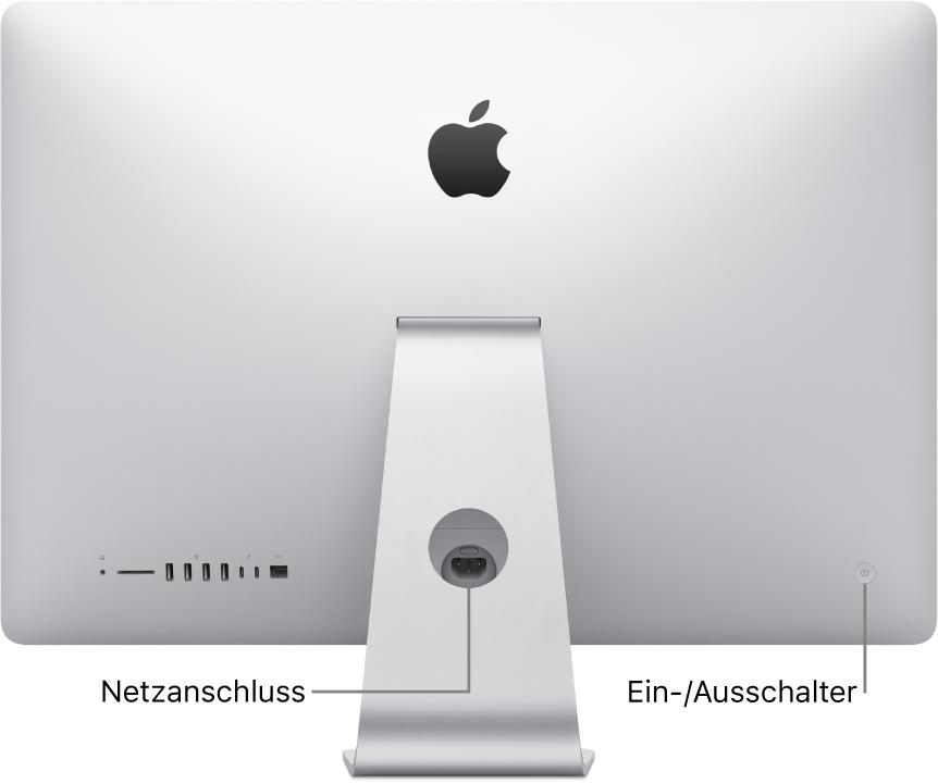 Rückansicht des iMac mit Netzkabel und Ein-/Ausschalter.