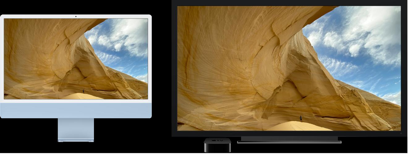 Ein iMac, dessen Inhalt auf einem großen HDTV-Gerät über ein AppleTV gespiegelt wird