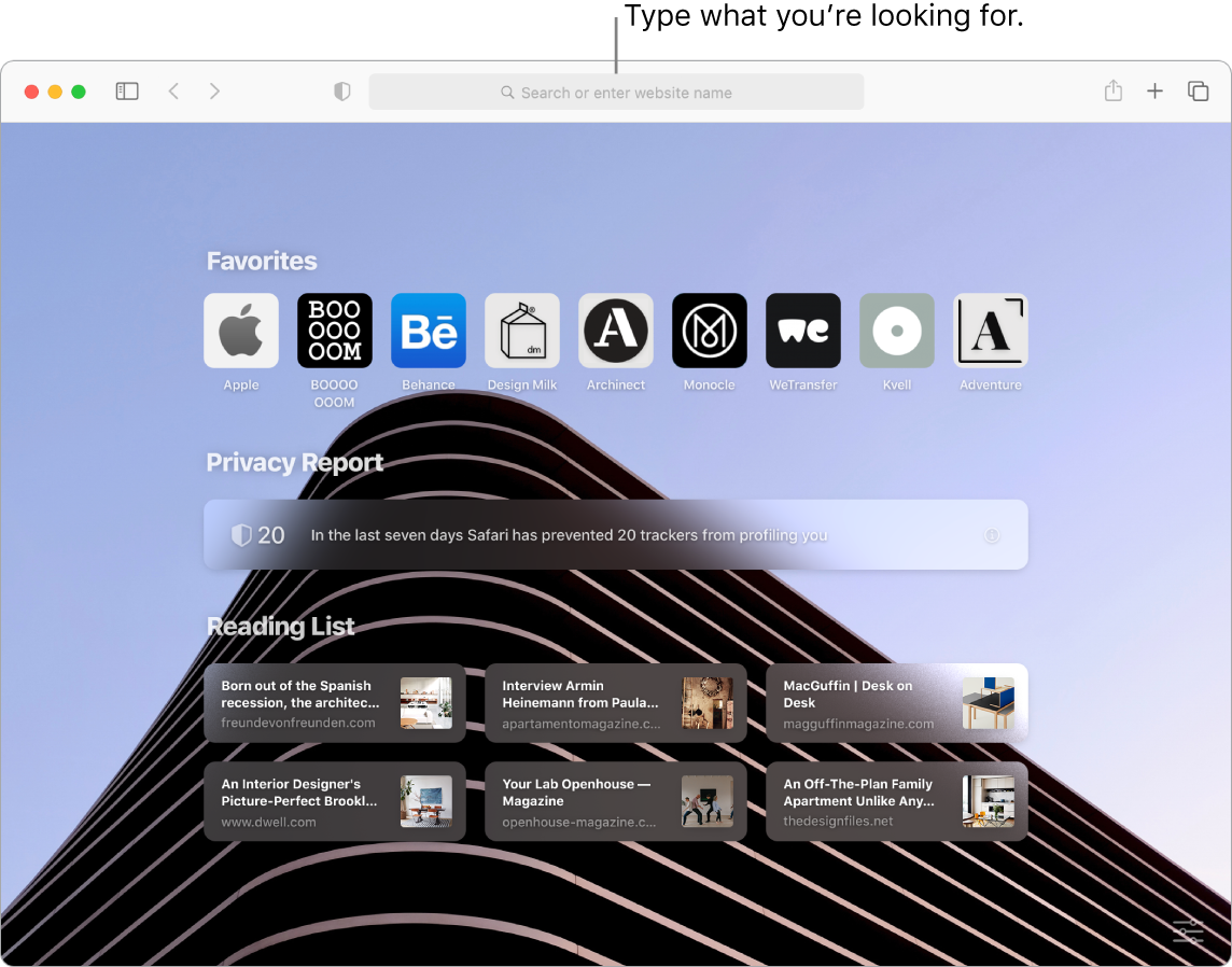 A Safari window with nine Favorite items, a Privacy Report, and six Reading List sites displayed, with a callout to the search field at the top of the window.