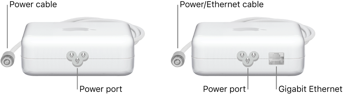 One power adapter without an Ethernet port and one power adapter with an Ethernet port.