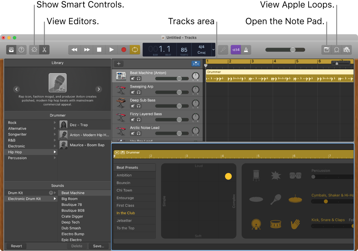 A GarageBand window showing the buttons for accessing Smart Controls, Editors, Notes, and Apple Loops. It also shows the tracks display.