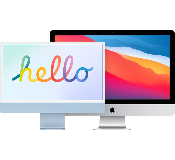 Two iMac displays, one in front of the other.