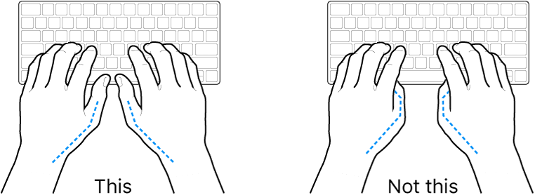 Hands positioned over a keyboard, showing correct and incorrect placement of thumbs.
