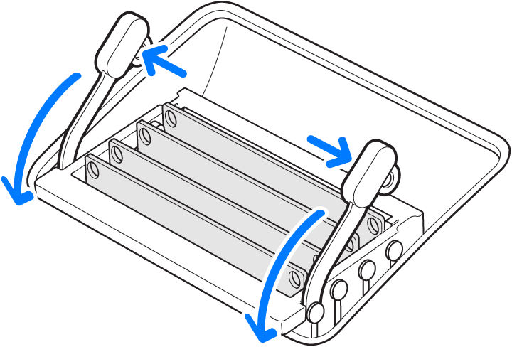 An illustration showing how to release the memory cage.