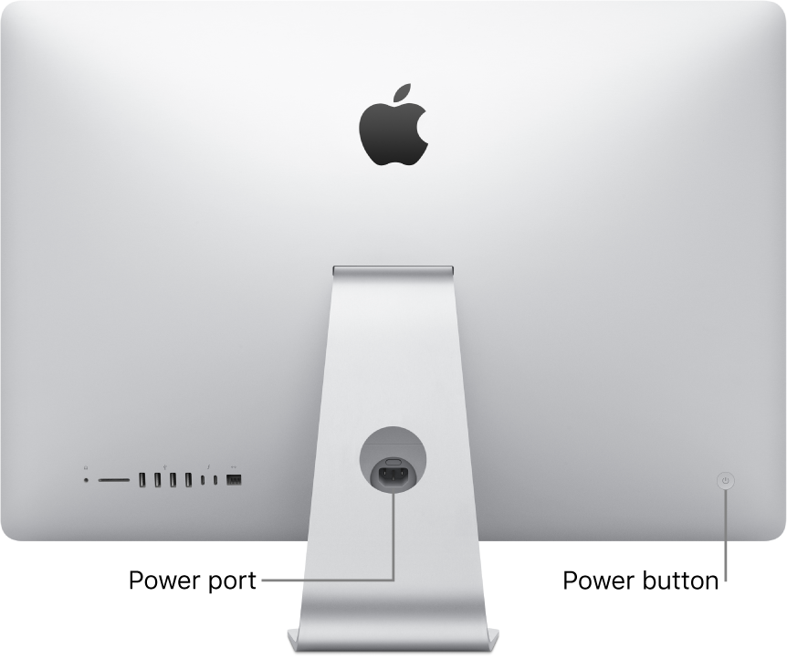 Back view of iMac showing the power cord and the power button.