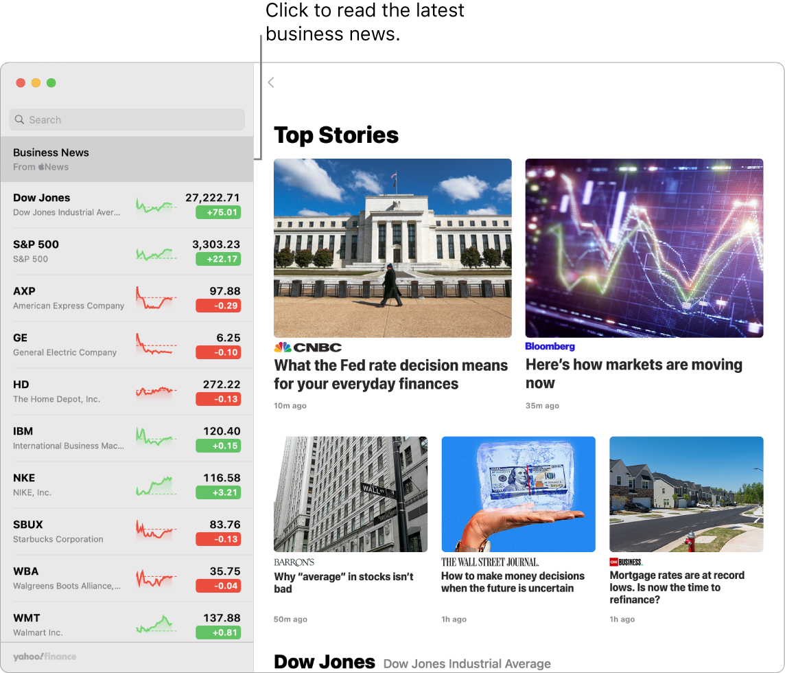 The Stocks dashboard showing market prices in a watchlist with accompanying Top Stories.
