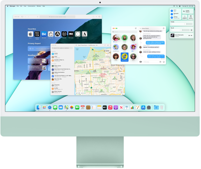 An iMac desktop showing Control Center and several open apps.