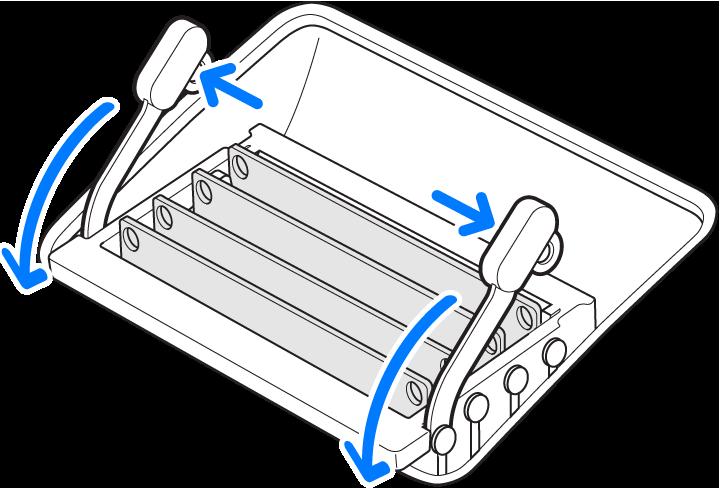 Ilustración mostrando cómo abrir las ranuras de la memoria.