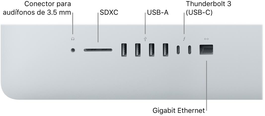 Una iMac mostrando el conector para audífonos de 3.5mm,puerto SDXC, puertosUSB-A, puertos Thunderbolt3 (USB-C) y el puerto GigabitEthernet.