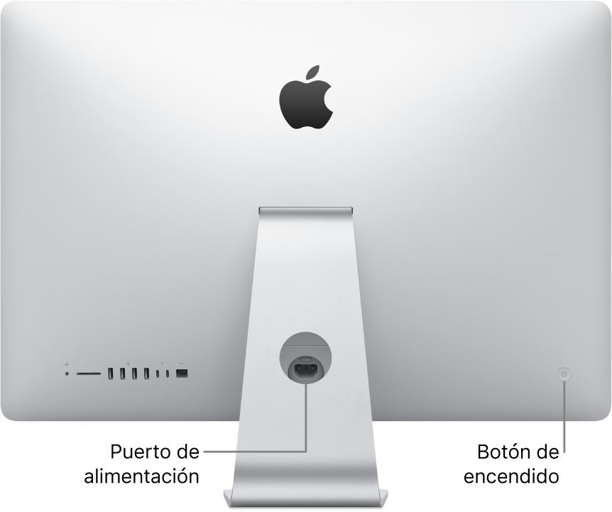 Parte posterior de la iMac mostrando el cable de alimentación y el botón de encendido.