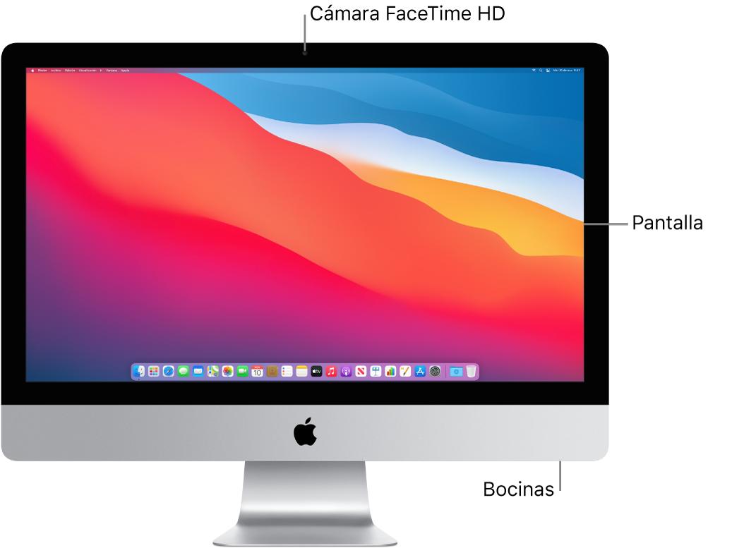 Vista frontal de la iMac mostrando la pantalla, la cámara y las bocinas.