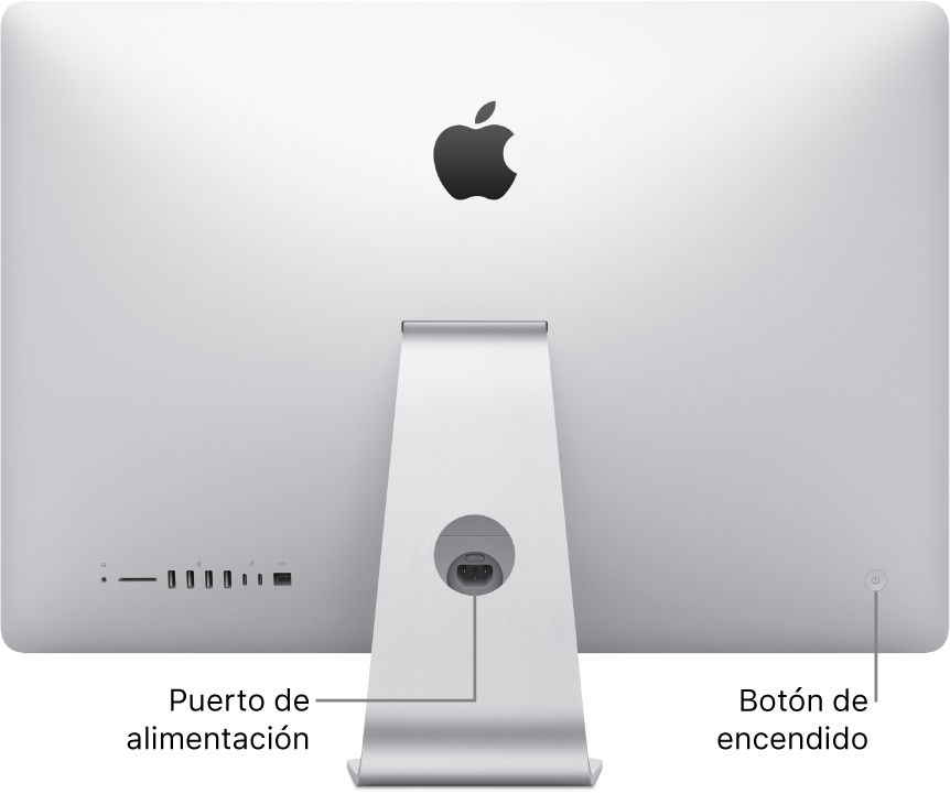 Vista trasera de un iMac donde se muestra el cable de alimentación y el botón de arranque.