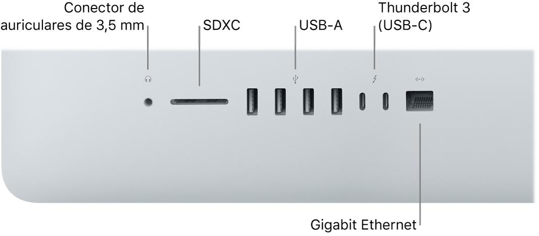 iMac con el conector para auriculares de 3,5mm,la ranura SDXC, los puertos USBA, los puertos Thunderbolt3 (USB-C) y el puerto Ethernet Gigabit.