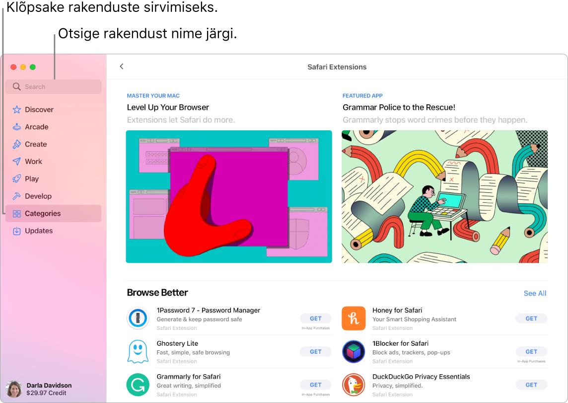 AppStore'i aknas kuvatakse otsinguvälja ja lehte Safari Extensions.
