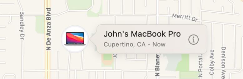 Lähivaade Johni MacBook Pro ikoonist Info.
