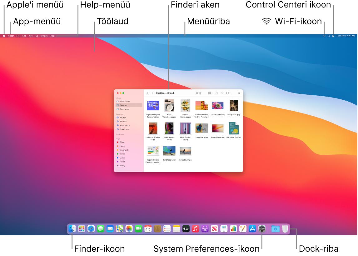 Maci ekraanil kuvatakse Apple-menüüd, rakenduse menüüd, Help-menüüd, töölauda, menüüriba, Finderi akent, Wi-Fi-ikooni, Control Centeri ikooni, Finderi ikooni, System Preferencesi ikooni ja Dock-riba.