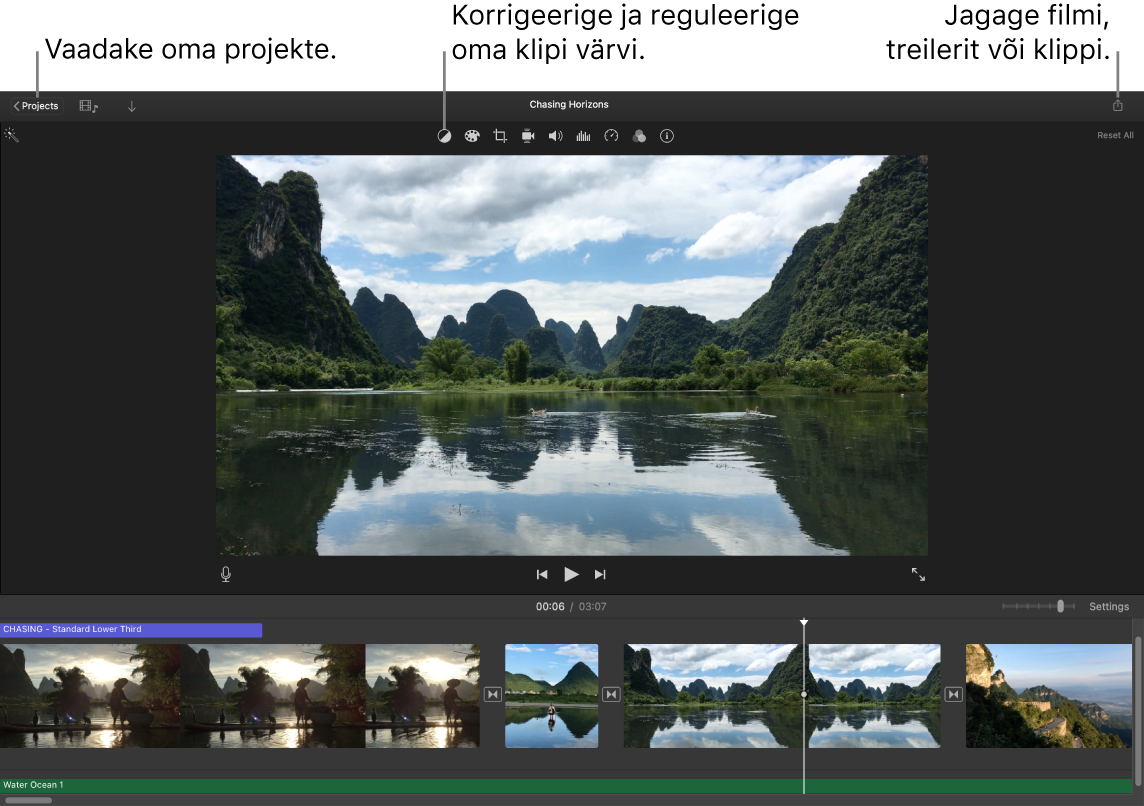 iMovie aknas kuvatakse projektide vaatamise, värvide korrigeerimise ja reguleerimise ning filmi, treileri või filmiklipi jagamise nuppe.