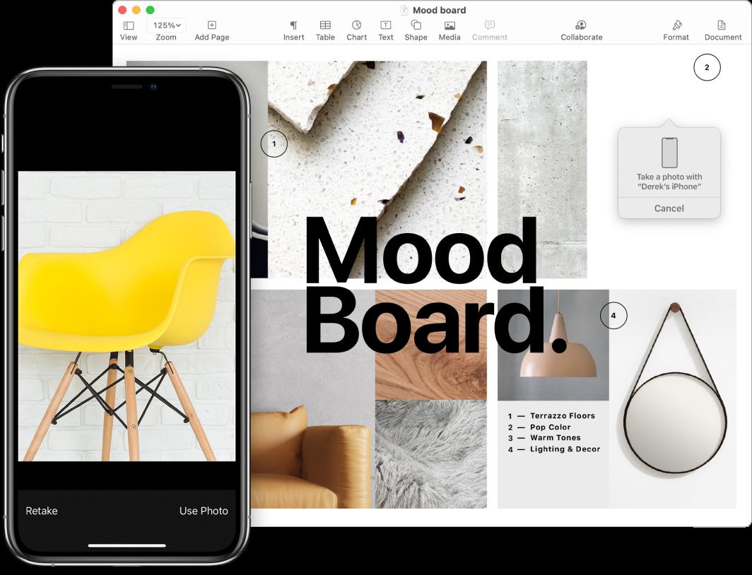 iPhone'i ekraanil kuvatakse fotot ning Maci ekraanil kuvatakse rakenduse Pages dokumenti viipekastiga, kuhu foto läheb.