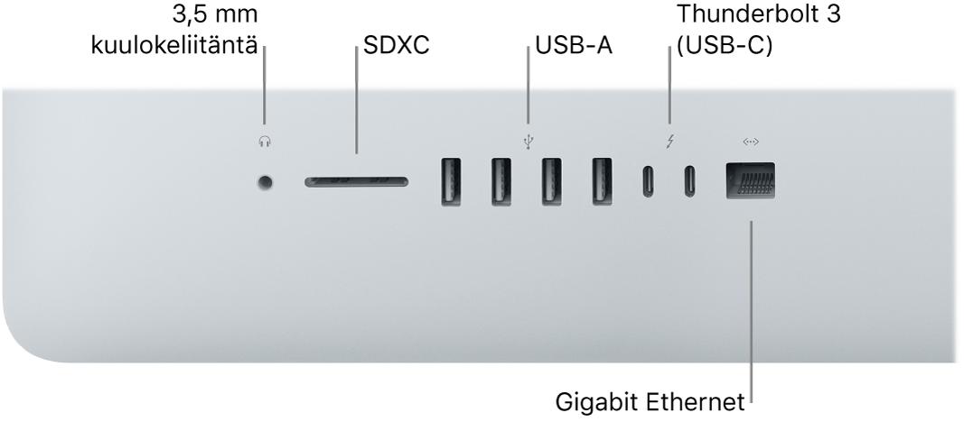 iMac, jossa näkyy 3,5mm kuulokeliitäntä, SDXC-paikka, USBA- ja Thunderbolt3 (USB-C) -portitsekä Gigabit Ethernet-portti.
