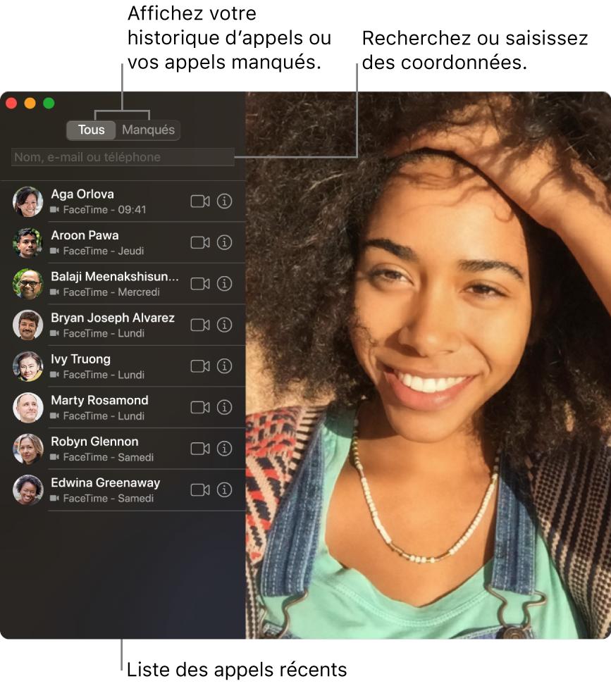Une fenêtre de FaceTime montrant la fonction d'appel vidéo ou audio, le champ de recherche pour saisir ou rechercher les coordonnées d'un contact, et la liste des derniers appels.