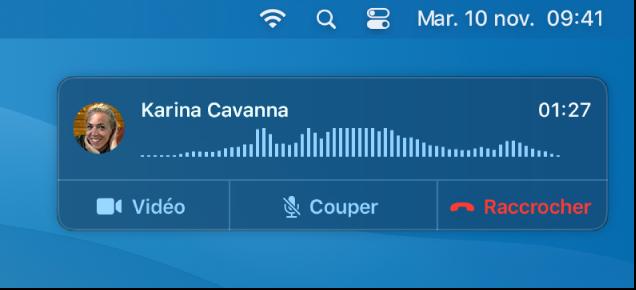 Un écran partiel de Mac affichant la fenêtre de notification d'appel.
