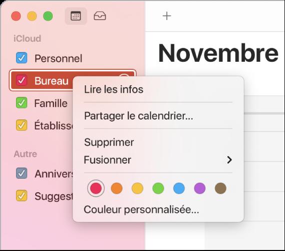 Menu contextuel Calendrier avec ses options pour la personnalisation de la couleur d'un calendrier.