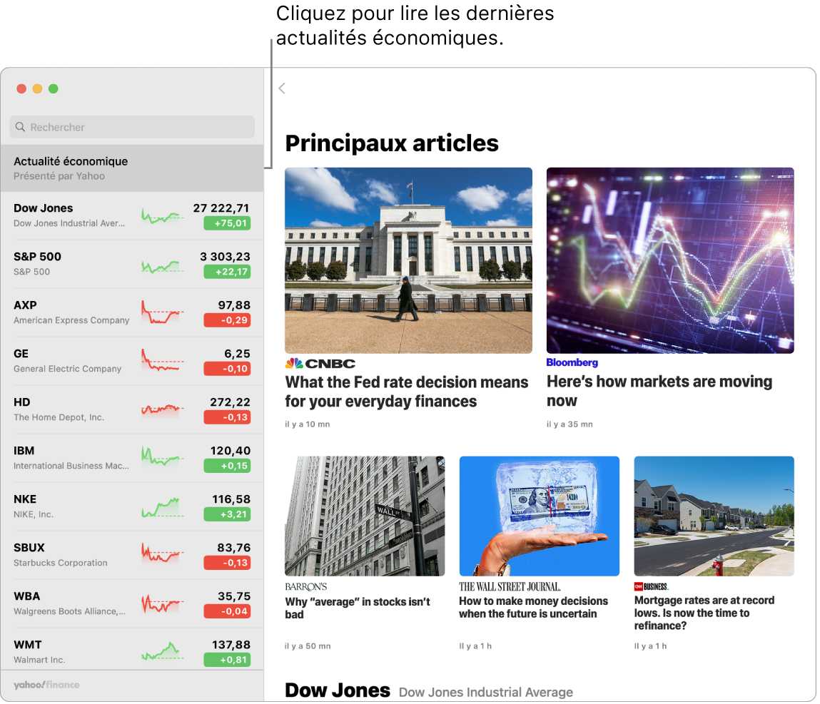 Le tableau de bord de Bourse affichant les cours du marché dans une liste de suivi, accompagnés de «Meilleurs articles».