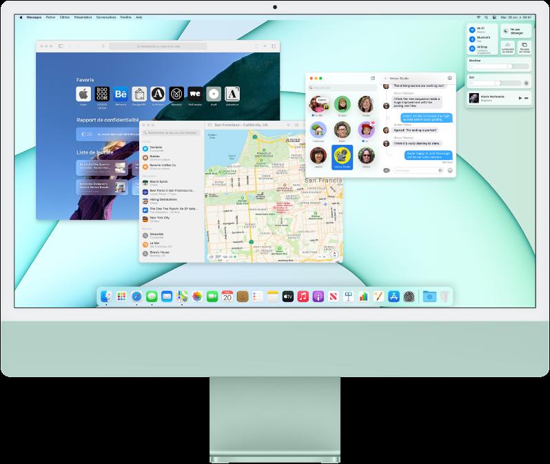 Un bureau d'iMac affichant le centre de contrôle ainsi que plusieurs apps ouvertes.