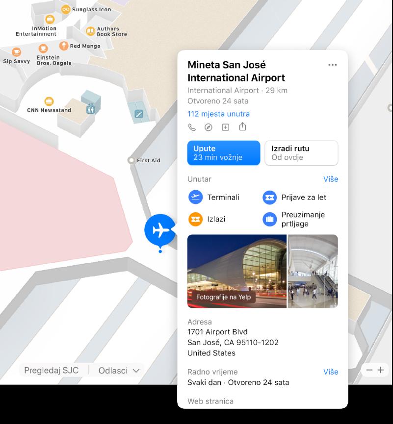 Karta unutrašnjosti zračne luke s informacijama o zračnoj luci, uključujući upute, restorane, trgovine i ostalo.
