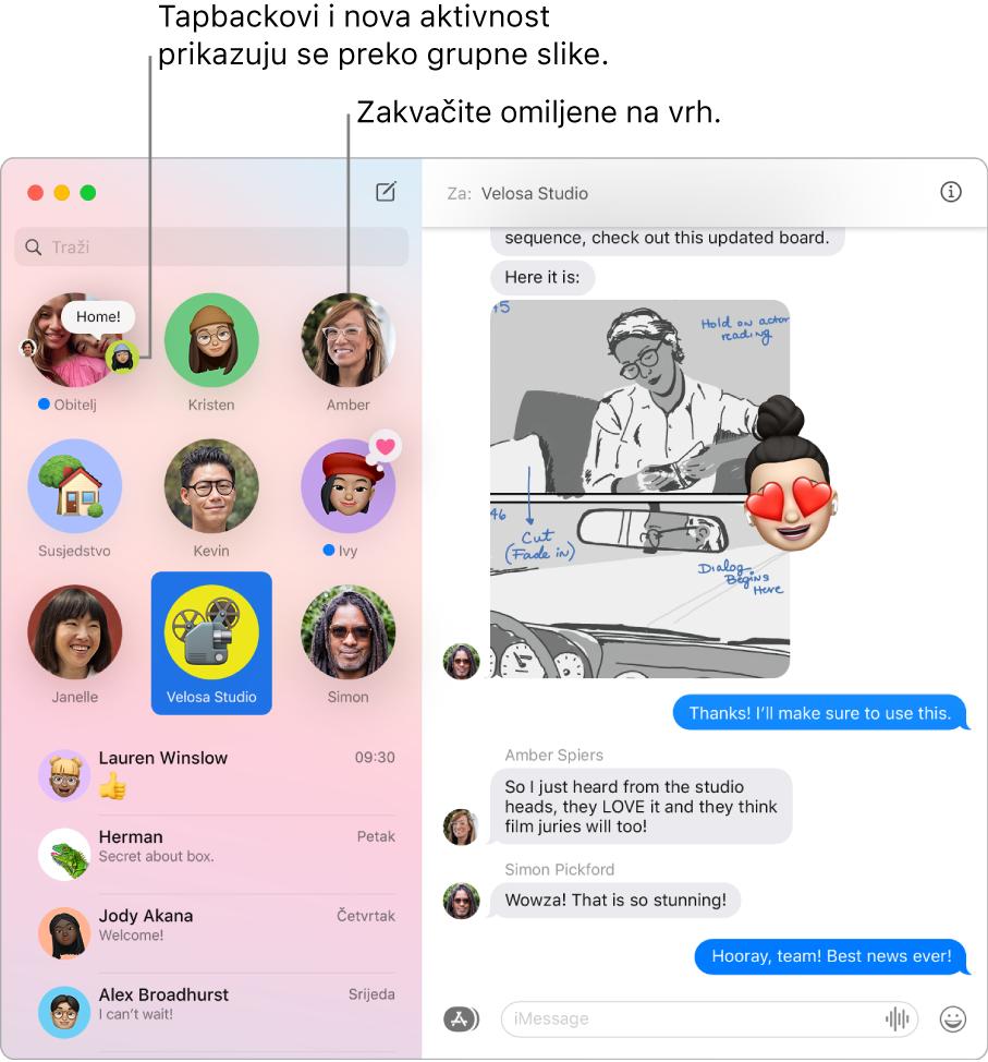 Prozor aplikacije Poruke s grupnim razgovorima zakvačenim pri vrhu lijevog stupca.
