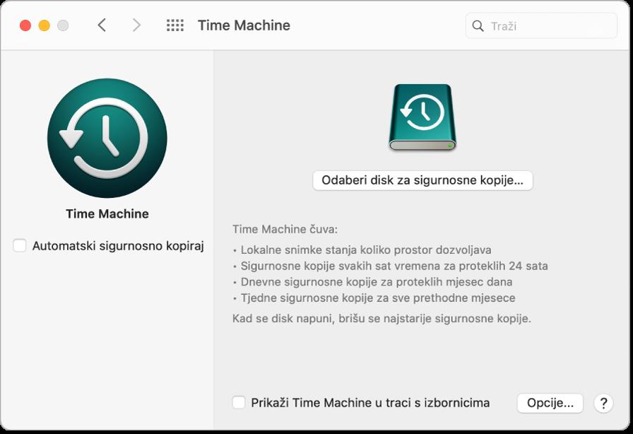 Prozor sigurnosne kopije Time Machinea.