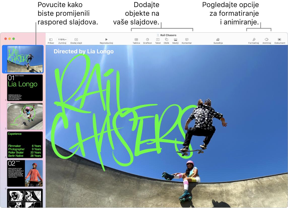 Prozor aplikacije Keynote s prikazom navigatora za slajdove s lijeve strane i načina preraspoređivanja slajdova, alati za uređivanje na vrhu, tipka za suradnju u blizini gornjeg desnog dijela te tipke Format, Animiraj i Dokument s desne strane.
