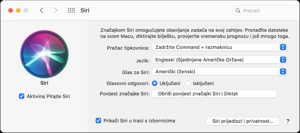 Prozor s postavkama za Siri s odabranom opcijom Aktiviraj Pitajte Siri slijeva i nekoliko opcija za podešavanje Siri zdesna.