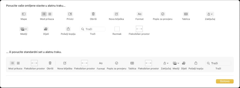 Prozor aplikacije Bilješke koji prikazuje opcije prilagođavanja alatne trake koje su dostupne.