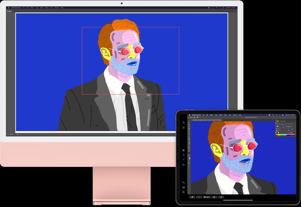 iMac i iPad jedan do drugog. iMac prikazuje crtež u prozoru navigatora Illustratora. iPad prikazuje isti crtež u prozoru dokumenta Illustratora, a ako njega nalaze se alatne trake.