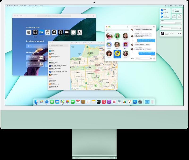 Radna površina iMac računala koja prikazuje Kontrolni centar i nekoliko otvorenih aplikacija.